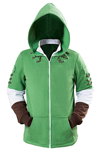 Hibuyer Men's Link Hyrule Zip up Hoodie Sweatshirt Adult Cosplay Costume Jacket Green Unisex (Large, Green)