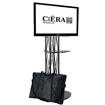 CiERA EZ Fold All-In-One Portable TV Stand with Shelf for 28-70 Inch TV s – Black