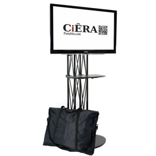 CiERA EZ Fold All-In-One Portable TV Stand with Shelf for 28-70 Inch TV's - Black