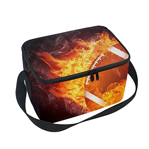 Rugby Flying With Fire Smoke Insulated Lunch Box Cooler Bag, Cute Lunch Box Backpack