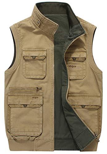 chouyatou Men's Outdoor Sports Zip Reversible Multi-Pocket Fish Work Travel Vest Jacket (X-Large, Khaki)