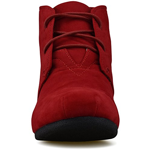 Standard Wedge Low Heel Shoes Outdoor Booties Casual Premier Red Fashion 4vHWnAA