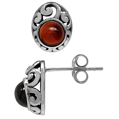 Petite Cabochon Garnet 925 Sterling Silver Southwest Style Filigree Stud Earrings ()