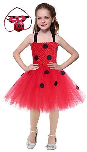 SevenJuly1 Girls Ladybug Costume for Kids Fancy Dress up Outfit Skirt Suit S