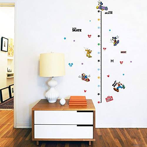 Mickey Mouse Child Height Decor Boys Girls Room Growth Chart Measure Wall Sticker Animal Cartonn DIY -