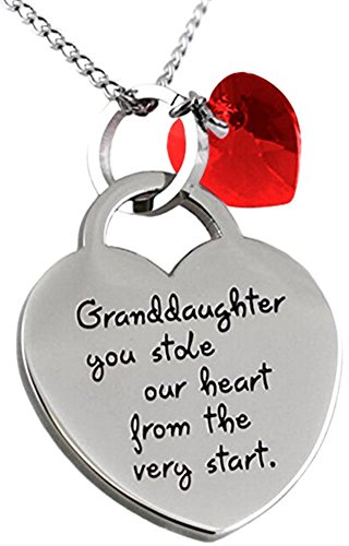 """Granddaughter You Stole Our Heart"" Inspirational Sentimental Message Valentine's Day Heart Necklace Jewelry Gift"
