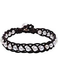 """Hand Braided White Freshwater Cultured Pearl Bead Bracelet with Genuine Leather Cord 7.8"""""""