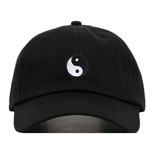 (Yin Yang Dad Hat, Embroidered Baseball Cap, 100% Cotton, Unstructured Low Profile, Adjustable Strap Back, 6 Panel, One Size Fits Most (Multiple Colors) (Black))