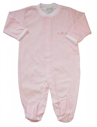 Kissy Kissy Baby Girls Homeward Gingham Embroidered Hearts Footie-0-3 Months