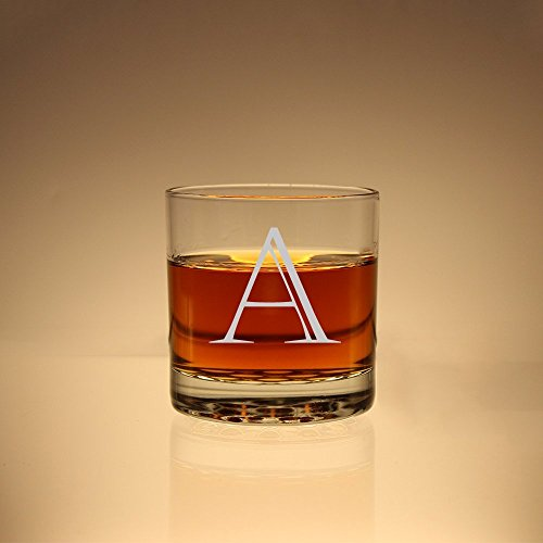 (Initial Scotch Glass, Groomsman Gift, Monogram Whiskey Glass, Etched Rock Glass, Personalized Scotch Glass, Etched Glass)