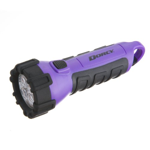 Dorcy 55-Lumen Waterproof Floating LED Flashlight with Carabiner Clip, Purple (41-2508)