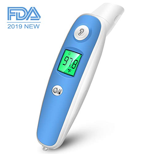Medical Baby Forehead and Ear Thermometer - Fast Accurate Reading 1 Second with Fever Indication, FDA Approved Digital Infrared Clinical Thermometer for Baby, Kids, Child and Adult