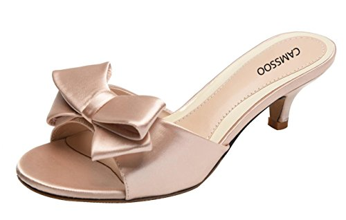 CAMSSOO Womens Summer Open Toe Satin Bowknot Sandals Low Heeled Slippers Slip on Shoes Champagne Satin V3d9Hgye