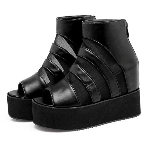 COOLCEPT Sandalen Schuhe Damen 2 Keilabsatz Schwarz zAw1pqxz