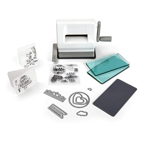 Sizzix Manual Die Cutting Machine with Suction Mounting Base and Framelits and Thinlits Dies, 7 Stamps Embossing Pad and Folder, 2.5 In (6.35 Cm) Opening, Sidekick Starter Kit