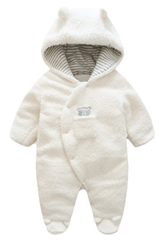 (BANGELY Newborn Baby Winter Thicken Cartoon Sheep Snowsuit Warm Fleece Hoodie Romper Size 3-6 Months (White) )