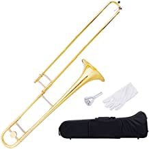 Costzon B Flat Tenor Slide Trombone, Gold Brass with Cupronickel Mouthpiece, Case, Gloves