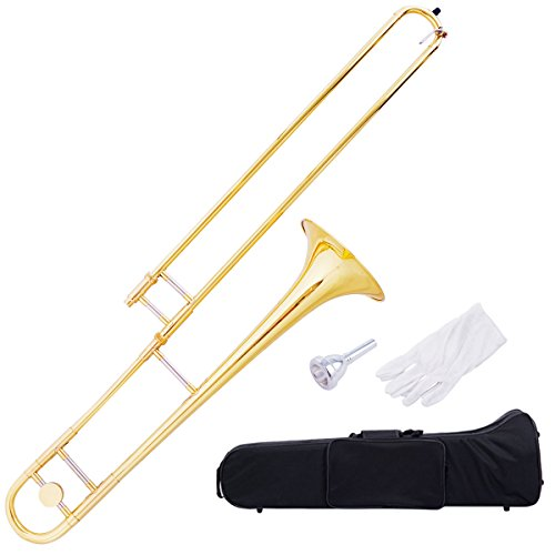 Costzon B Flat Tenor Slide Trombone, Gold Brass with Cupronickel Mouthpiece, Case, Gloves