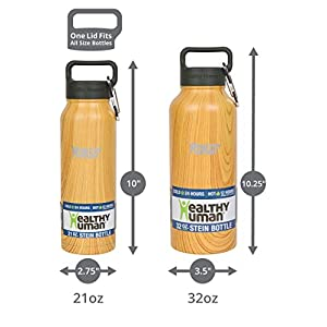 Healthy Human Stainless Steel Insulated Water Bottle Thermos - BPA Free Cap with Hydro Guide & Carabiner Set - Golden Oak - 21 oz