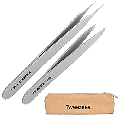 Tweezees Precision Stainless Steel Tweezers - Professional Slant Tip & Splinter Tip Tweezer - Extra Sharp Hair Removal Tool - Best Set for Eyebrow Shaping