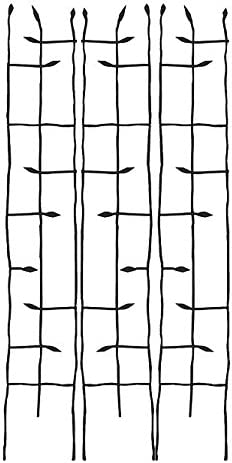 BestNest Panacea 89484 Black Forged Narrow Twig Trellises, 72 H, Pack of 3