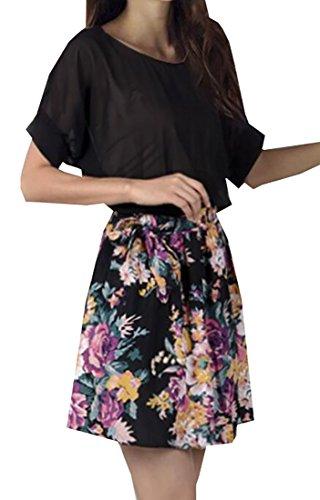 Buy belted chiffon print dress - 1