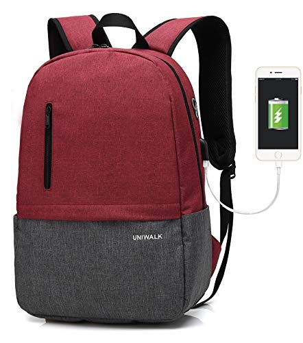 Laptop Backpack, Waterproof School Backpack With USB Charging Port For Men Women, Lightweight Anti-theft Travel Daypack College Student Rucksack Fits up to 15.6 inch Computer (Red)