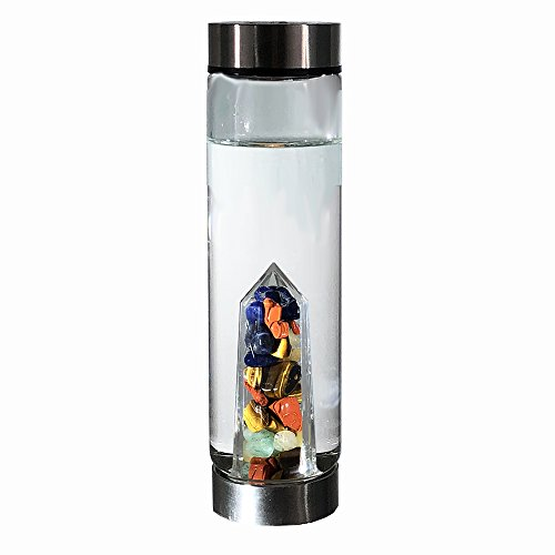 Bewater Magic Re-usable Water Bottle with Gemstone Center: Red Jasper, Sodalite, Tiger's Eye, Green and Yellow Aventurine (Glass)