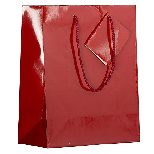 JAM PAPER Glossy Gift Bags with Rope Handles - Medium - 8 x 4 x 10 - Red - Sold Individually Affordable Wedding Cd Favors