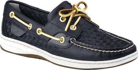 Sperry Top-Sider Women's Bluefish 2-Eye Black Woven Boat Shoe 12 M (B)