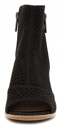 Peep 3 Heel Axle Women's Bootie Mari Toe Ankle Boot Black A UYtqw0