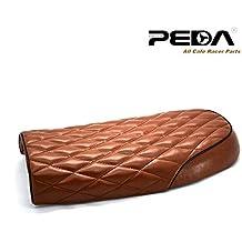 PEDA Brat Cafe Racer Seat Checkered Diamond Pattern Motorcycle Seat Saddle Leather Waterproof