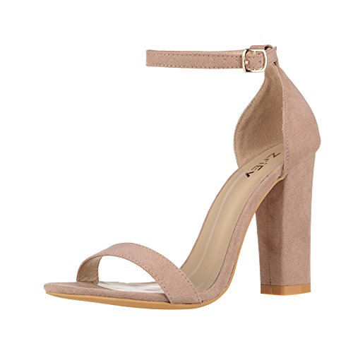 Chunky High Heel Sandals (ZriEy Women's Chunky Block Strappy High Heel Pump Sandals Fashion Ankle Strap Open Toe Shoes)