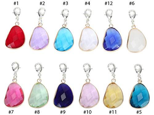 Birthstone Austrian Crystal Rings - 1 x Clip On Charms December Birthstone Charms Austrian Crystal Beads for Earrings Bracelet Necklace Keychain Jewelry Making CCP10-12-L
