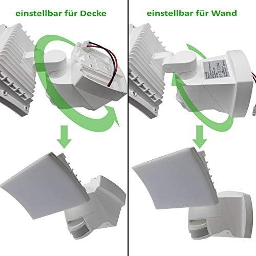 Extra LED Wandleuchte für Außen 1000lm mit Bewegungsmelder Lichtsensor IP44 Wasserdicht Außenleuchte einstellbar WTT-1018