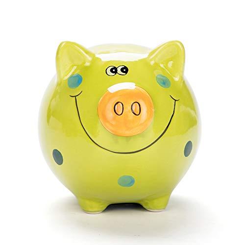 JYPHM Ceramic Piggy Bank for Kids Boys and Girls Unique Gift Nursery Décor Keepsake Porcelain Piggy Bank Light Green