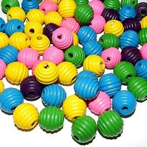 Steven_store WL519 Pink Yellow Green Purple Blue Mix 16mm Fluted Round Wood Bead Mix 80pc Making Beading Beaded Necklaces Yoga Bracelets