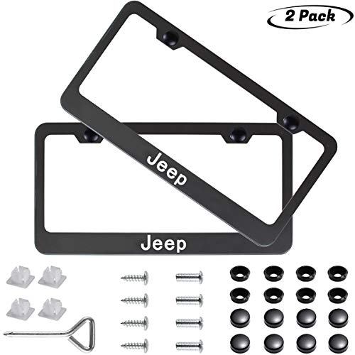 2pcs Newest Matte Aluminum Alloy License Plate Frame ,with Screw Caps Cover Set Suit,Applicable to US Standard car License Frame,FBA Fast Delivery,for Jeep