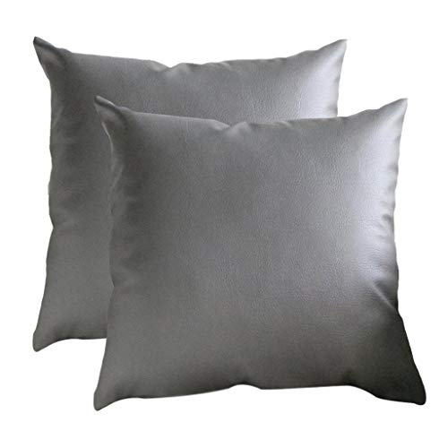 (Transser 2 Pack Thick Faux Leather Pillow Cover Decorative for Couch Sofa Bed Car Throw Pillow Case Leather Cushion Cover Solid Color Leather Pillowcase, 18x18 Inches)
