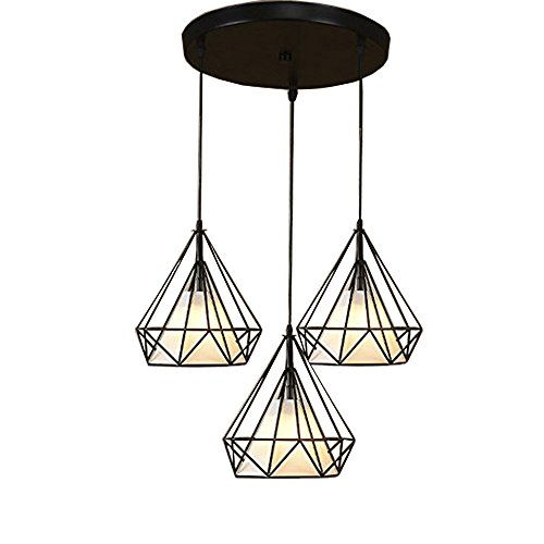 JINGUO Lighting Industrial Pendant Light Chandelier 3-Lights Hanging Lamp Ceiling Fixture in Fabric and Wire Style with Diamond Shape Shade for Kitchen Restaurant Dining Room Cafe Living Room Black ()