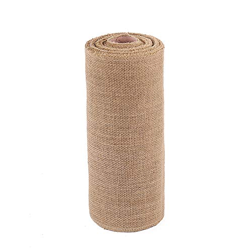 wlflash Burlap Table Runner 12 Inch by 10 Yards Natural Jute Hessian Burlap Roll Crafts Fabric Rolls with Sewn Edges for Country Rustic Party Wedding Decorations Farmhouse Kitchen Decor ()