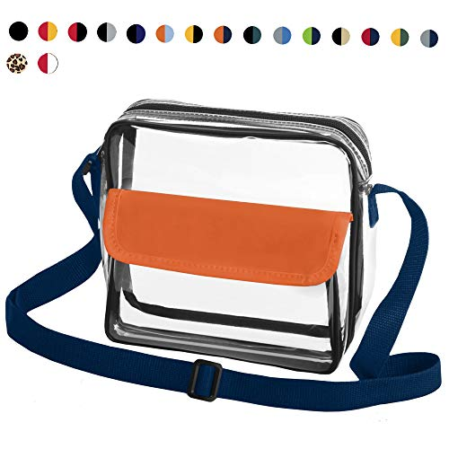 CORJENT Clear Crossbody NFL, PGA, NCAA & NHL Stadium Approved Messenger Bag w/Adjustable Strap (Orange/Navy)