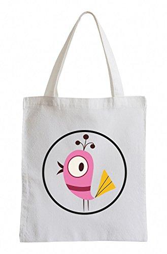 Raxxpurl Pink Bird in cerchio Fun sacchetto di iuta