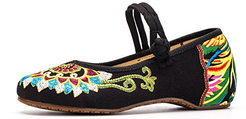 AvaCostume Womens Buddhism Totem Embroidery Casual Mary Jane Shoes Black befFs3b