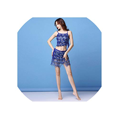 Summer Women Belly Dance Suit Short Sleeves top+Skirt 2 Pcs Set for Lady Performance Costume,Blue,L]()