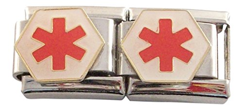 2 Red Medical ID Alert Stars for Italian Charm Bracelets (Star Italian)