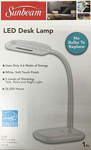 New SUNBEAM Flexible Neck LED Desk LAMP Adjustable Light Energy Star (White)