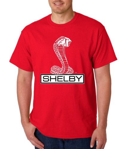 Ford Shelby Cobra Logo Men's Ford Racing square gt500 svt TEE (Red, X-Large)