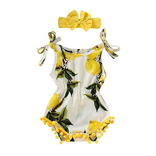 (Cyhulu Toddler Infant Baby Girls Suspender Lemon Print Shell Romper+Headbands Set Outfit (Yellow, 12-18 Months))