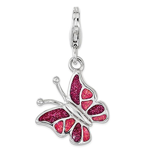 925 Sterling Silver Rh Pink White Enameled Butterfly